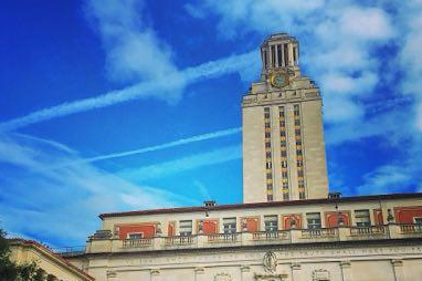 UT Tower with blue sky and clouds